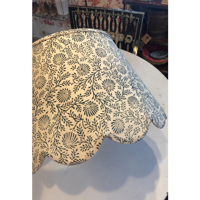 Large hardback lampshade with Maison Maison's signature scalloped bottom. Made in our White and Blue Spray Fabric. This...