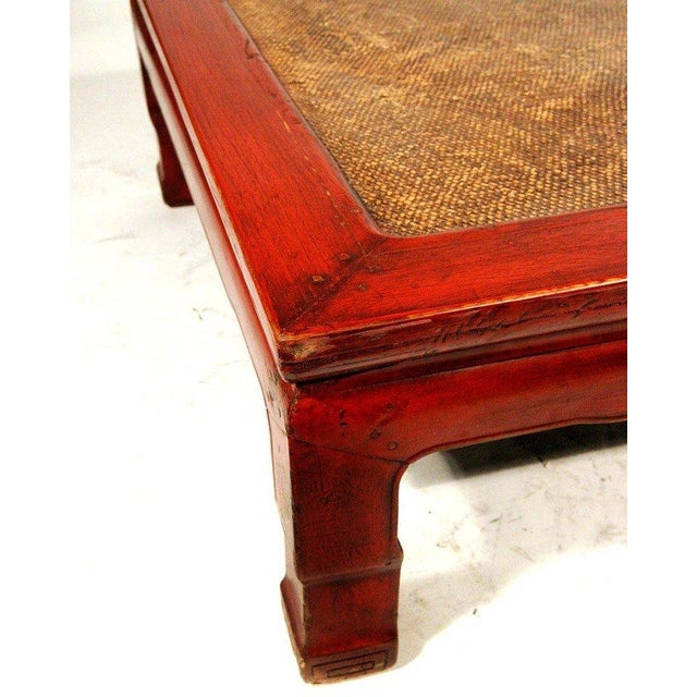 Chinese Red Lacquer Coffee Table With Woven Rice Top For Image 4 Of