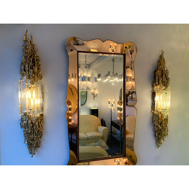 Pair of Bronze Murano Glass Sconces by Claude Victor Boeltz, France, 1970s For Sale - Image 10 of 13