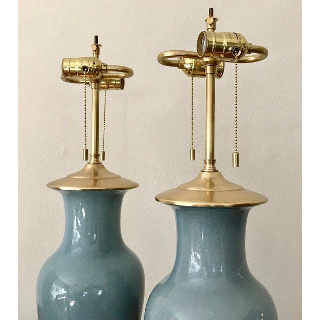 Slate Blue Ceramic on 23-Karat Water Gilt Base Table Lamps - a Pair For Sale - Image 4 of 13