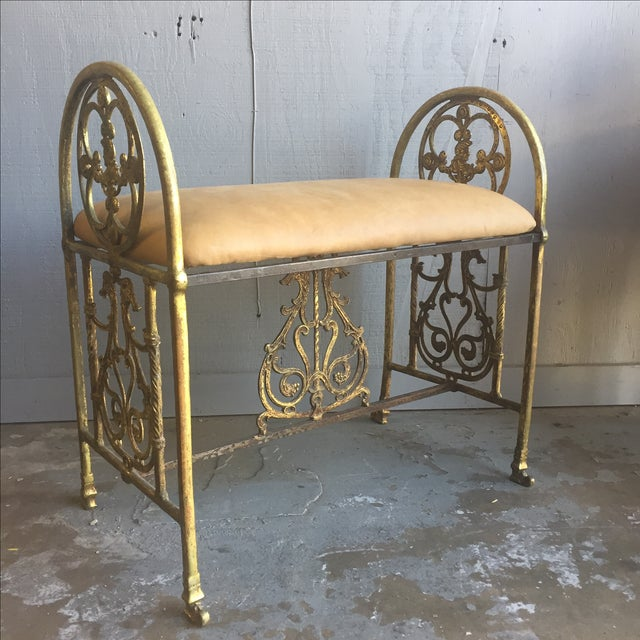 Bronze and iron bench by Oscar Bach. Beautiful detailed cast and hand forged ironwork. Heavy and solid piece in very good...