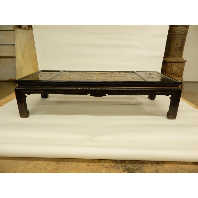 Black Lacquered Chinoiserie Coffee Table For Sale - Image 8 of 11