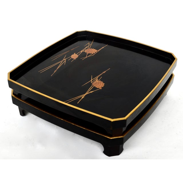 Mid 20th Century Japanese Vintage Lacquered Wood With Maki-E StackingTrays Pair For Sale - Image 5 of 6