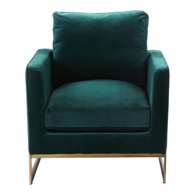 2010s Emerald Green Plush Velvet Accent Chair For Sale - Image 5 of 6