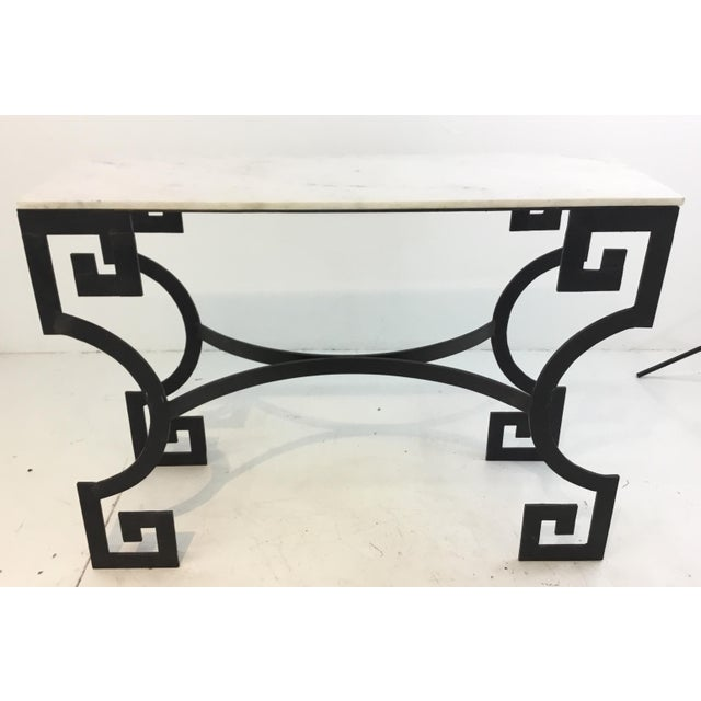 Modern Greek Key Iron And White Marble Console Table Chairish