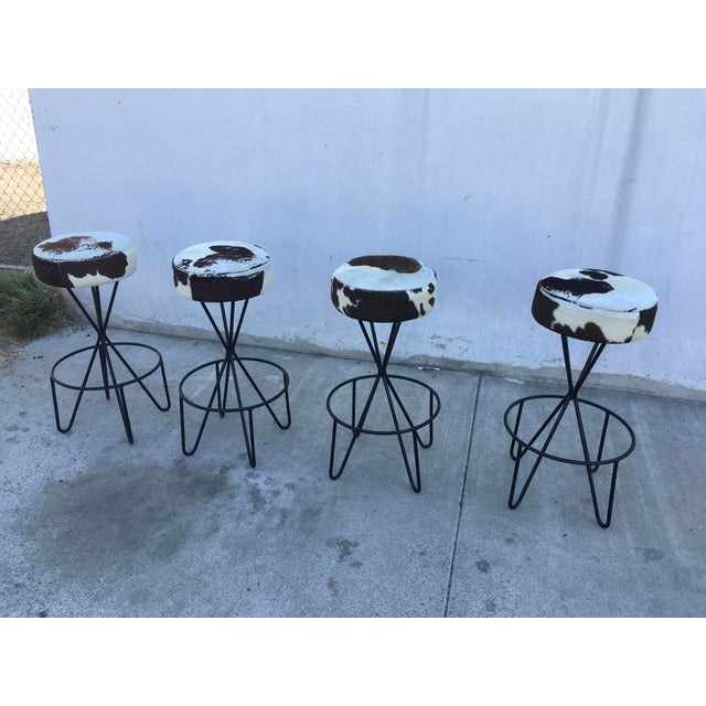 1950s Vintage Paul Tuttle Iron Bar Stools - Set of 4 For Sale - Image 11 of 13