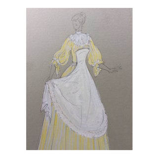 1950s Costume Design Painting For Sale