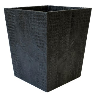 Black Faux Alligator or Crocodile Wastebasket or Trash Can For Sale