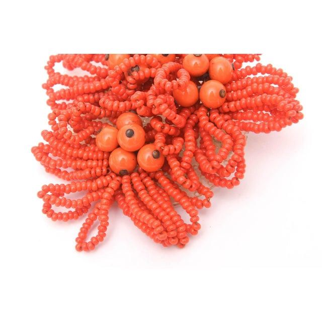 Modern Miriam Haskell Orange Beaded Cluster Pin / Brooch For Sale - Image 3 of 8