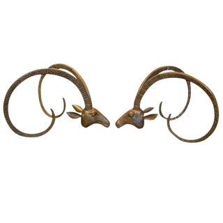 Ibex Sculptural Brass Rams Head Coffee Table in the Manner of Chervet For Sale