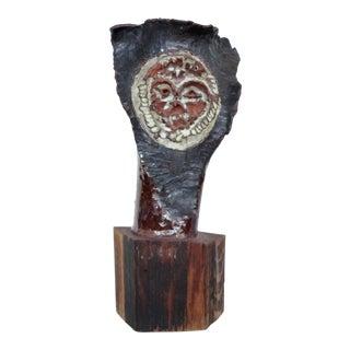 Mid-century Brutalist Ceramic Owl Sculpture For Sale
