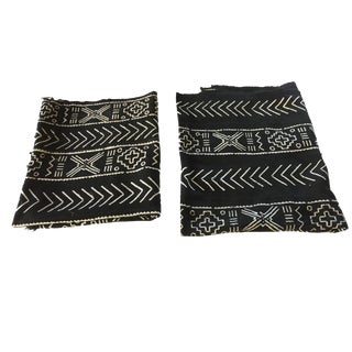 """African Mali Black and White Mud Cloth Textile / Pair 60"""" by 46"""" Pair For Sale"""