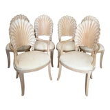 Image of Vintage Carved Back Shell Chairs- Set of 6 For Sale