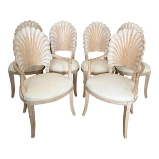 Vintage Carved Back Shell Chairs- Set of 6 For Sale