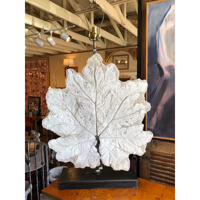"""Lamp With Vintage French Plaster Leaf 25.5"""" Wide x 6"""" Deep x 35"""" High"""