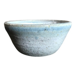 Handmade Gray and Blue Ceramic Bowl For Sale