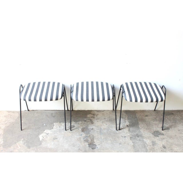 Wrought Iron Upholstered Stools - 3 - Image 3 of 4
