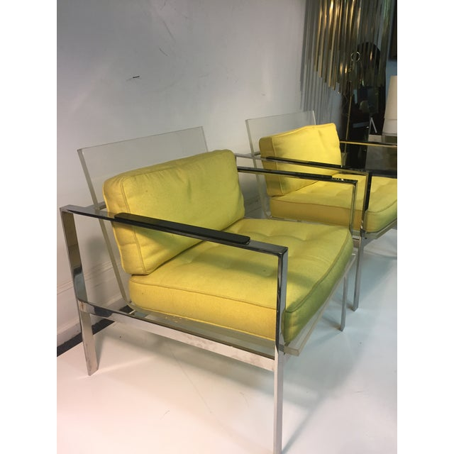 Fabric Rare Pair of Modernist Lucite And Nickeled Bronze Chairs by Laverne For Sale - Image 7 of 10