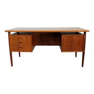 Danish Modern Arne Vodder Style Bornholm Floating Top Teak Desk For Sale