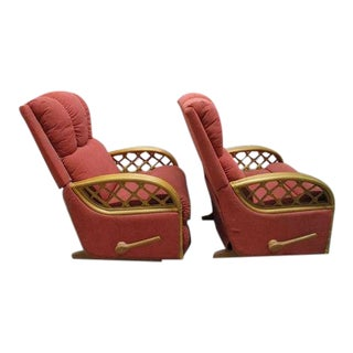 McGuire Style Bamboo Rattan Recliner Chairs - a Pair