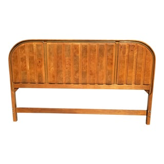 Vintage American of Martinsville King Size Headboard Burl Wood MCM Art Deco For Sale