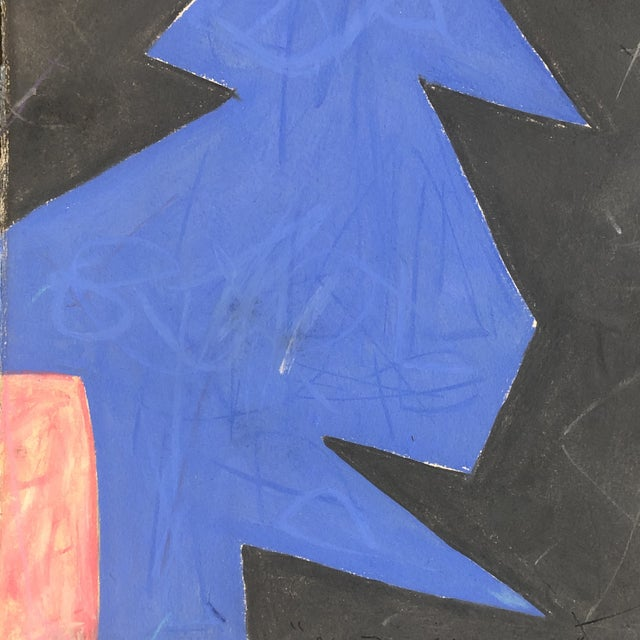 """Vintage Robert Cooke Abstract """"Blue Tree"""" Pastel Drawing 1981 For Sale - Image 4 of 5"""