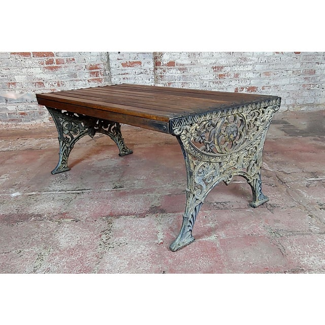 Metal 19th Century Fabulous Cast Iron & Wood Patio / Garden 3 Pieces Set For Sale - Image 7 of 11