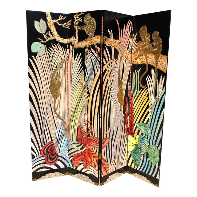 1980s Art Deco Hand Painted and Carved 4-Panel Room Divider For Sale