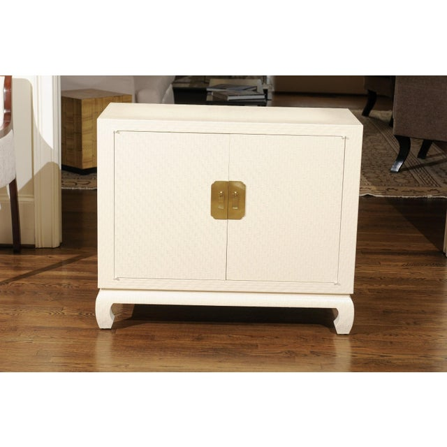 Fabulous Restored Pair of Cream Raffia Cabinets by Baker, circa 1975 For Sale - Image 9 of 11