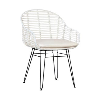 White Woven Dining Chair For Sale