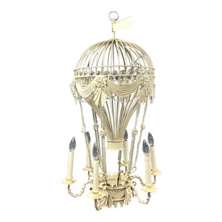Vintage Hot Air Balloon Beaded Tole Chandelier For Sale