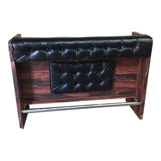 1970s Vintage Black Leather Tufted Dry Bar For Sale