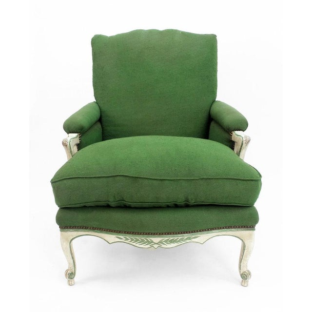 French Provincial Ladder Back Bergere Armchair For Sale - Image 3 of 7
