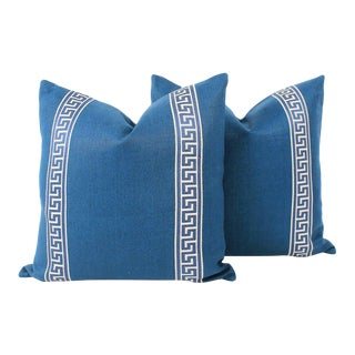 Royal Blue Linen Greek Key Pillows, a Pair For Sale