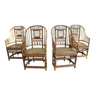 Tortoise Shell Bamboo Rattan Brighton Pavilion Chinoiserie Dining Chairs - Set of 4