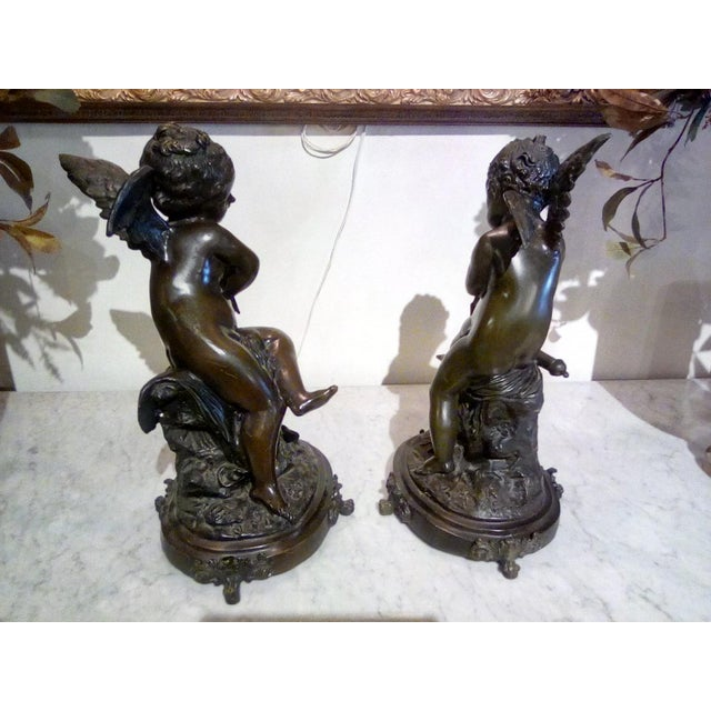 2000 - 2009 Cherubs Bronze Angels Figurines - a Pair For Sale - Image 5 of 7