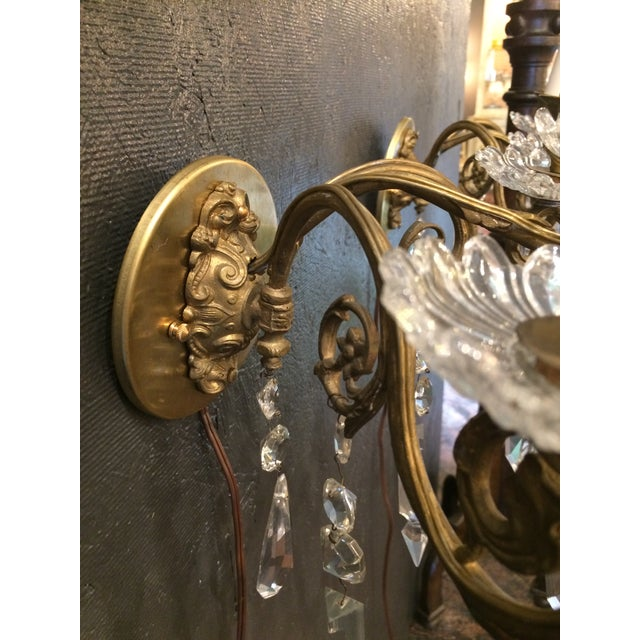 Metal Napoleon III Bronze and Crystal Sconces - A Pair For Sale - Image 7 of 9