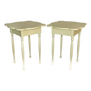 Maine Cottage Boho Shabby Chic Painted Sun Yellow Side Tables - a Pair For Sale
