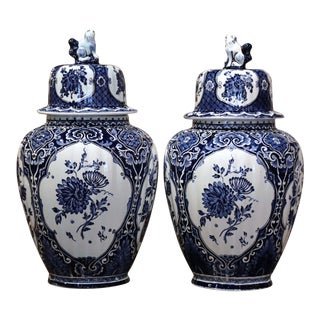 Pair of Mid-20th Century Dutch Painted Blue and White Faience Delft Ginger Jars For Sale