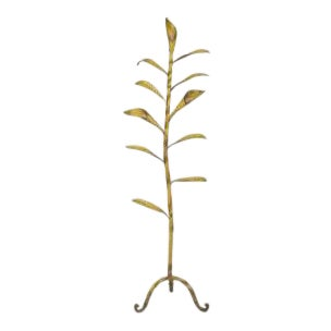 American Rustic Country style (1st quarter 20th Cent) yellow painted metal floor lamp with 11 leaves having 3 lights emanating from a twisted iron fra