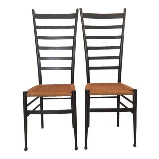 Gio Ponti Ladder Back Chairs - a Pair