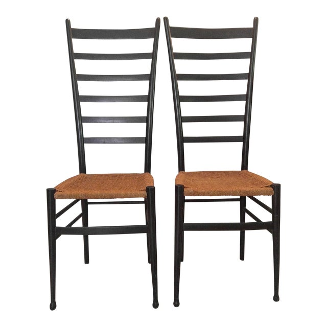 Gio Ponti Ladder Back Chairs - a Pair For Sale