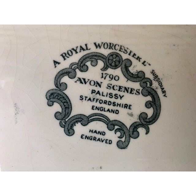 "Royal Worcester Palissy ""Avon Scenes"" Hand Engraved Porcelain Platter For Sale - Image 9 of 10"