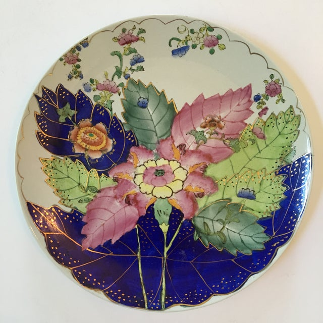 "Lovely, popular, Tobacco Leaf pattern decorative plate with the makers mark ""WL 1897""on the reverse side. The colors are..."