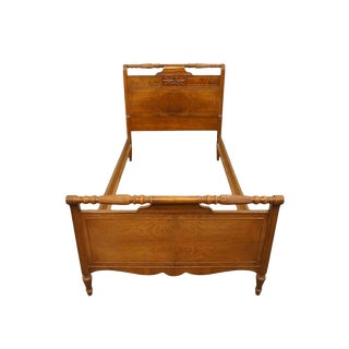 20th Century French Regency Huntley Furniture Country Walnut Twin Size Bed For Sale