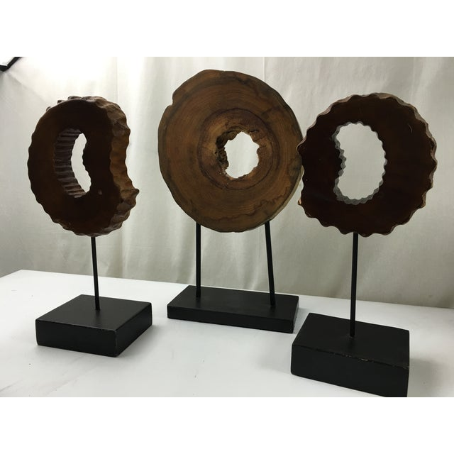 Wood Wheels on Stands - Set of 3 - Image 5 of 6