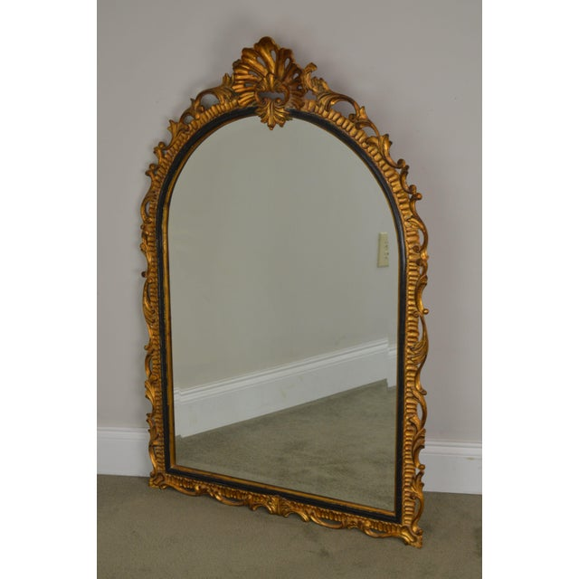 High Quality Carved Wood Gilt Finish and Black Painted Frame with Beveled Mirror by Harrison & Gil Dauphine