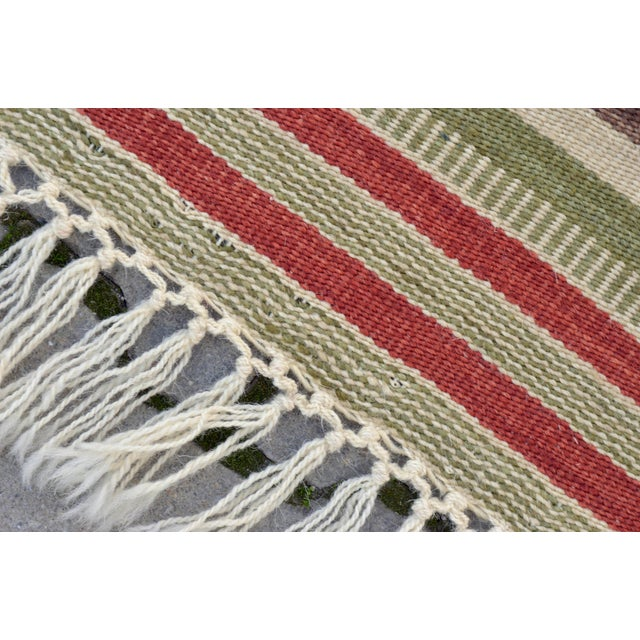 "Handwoven Striped Turkish Kilim Rug - 4'1"" x 5'8"" - Image 3 of 9"