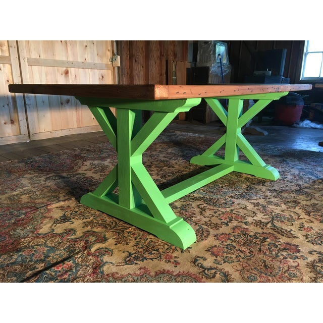 Contemporary Green Painted Pine Farm Table For Sale - Image 3 of 5