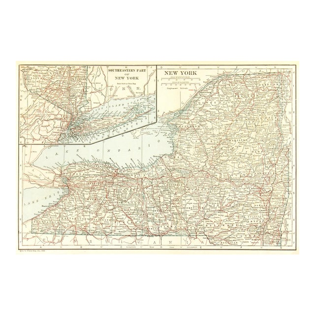 Vintage Map of New York, 1928 For Sale